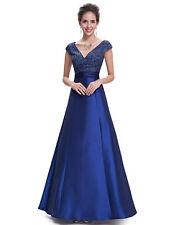 Women Beaded Wedding Dress Long V-neck Sleeveless Formal Evening Proms 08495