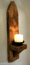 LARGE 52CM SOLID PLANK WOOD RUSTIC WAXED GOTHIC ARCH WALL SCONCE CANDLE HOLDER