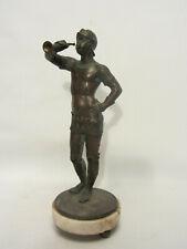 Antike Bronzefigur Junge Mit Stock Auf Marmorsockel 13 Cm Antike Originale Vor 1945 Antiquitäten & Kunst