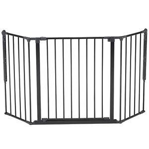 BabyDan Flex Medium Adjustable 35-58 Inch Wall Mounted Baby Safety Gate, Black