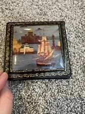 Russian Lacquer Note Holder Hand Painted Trinket