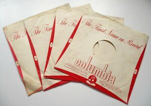 78 RPM VINTAGE RECORDS SLEEVES for COLUMBIA  RECORDS 1950's RED   LOT OF 4