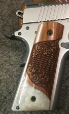 1911 Full Size Colt S&W Sig Springfield Grips Solid Exotic Rosewood & Faux Pearl
