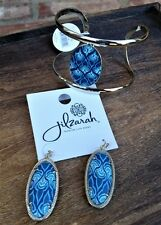 Jilzara Marina Blue 2 pc Gift Set Cuff Bracelet Reversible Earrings