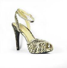 Lauren Ralph Lauren Kadie Shoes Sandals Platform Heels US 7.5 Snake-Emb Leather