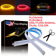 45CM Amber Red Switchback Headlights DRL LED Strip Light Sequential Turn Signal