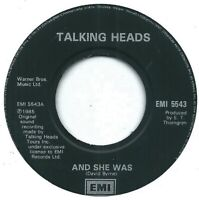 "Talking Heads ‎– And She Was  7"" Vinyl 45rpm Single"