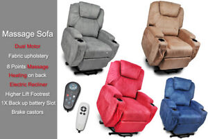 Recliner Lift Heat Massage Armchair Sofa Fabric 2 Motor Chair Free delivery