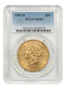 1907-D $20 PCGS MS62 - Liberty Double Eagle - Gold Coin