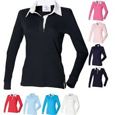 Ladies Women Front Row Long Sleeve Plain Rugby 100% Cotton Shirt Top