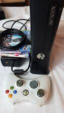 Microsoft xBox 360 S Slim Console 1439 Black Complete No HD 2 Games