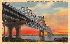 Louisiana LA   BATON ROUGE BRIDGE Over MISSISSIPPI RIVER ca1940's Linen Postcard