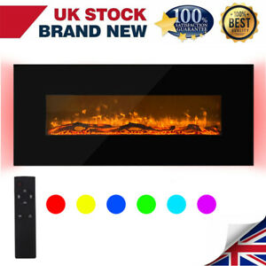 Electric Fireplace Fire Wall Mounted Heater Flat Glass Remote Control LED RGB