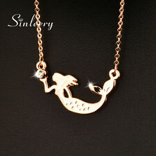 2017 New Charm Women Mermaid Choker Necklace Chain 18k Rose Gold Plated XL412