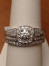 White Gold Halo Antique Vintage Style Round Diamond Wedding Bridal Set Ring Band