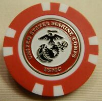 NEW USMC Marines Poker Chip removable Golf Ball Marker