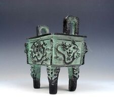Chinese *DING* Bronze Crafted 4 Legs Incense Burner Overlay Dragons Engraved