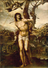 """Huge Oil painting male portrait Injuries St. Sebastian with angel canvas 36"""""""