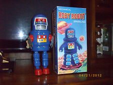 ROBY ROBOT TIN wind up SPACE ROBOT BLUE BODY MIB