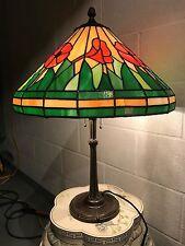 ANTIQUE BRADLEY HUBBARD SOLID BRONZE ART DECO TULIP LAMP LEADED SLAG GLASS SHADE