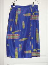 Vtg Lorenza 100% Silk Skirt and Matching Blouse Small Blue Yellow