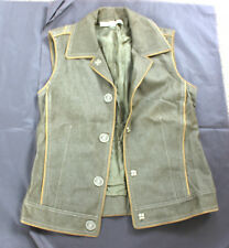 Marc Jacobs green denim gilet with sun burst stitching pattern. Size US 2