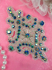 JB115 Turquoise AB Glass Rhinestone Applique Silver Beaded Motif Dance Patch