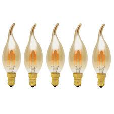 5 Pack E14 4W Dimmbar Glühfaden LED Kerze Lampe, 2700K Warmweiß Windstoßkerzen
