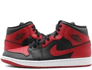 Nike Air Jordan 1 Mid Banned Black Red White 554724-074 Mens GS New