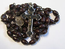 """† UNIQUE VINTAGE """"GERMANY"""" SPECIAL PATER CARVED WOOD  ROSARY & INLAID CRUCIFIX †"""