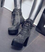 Gothic Women Rivets Block Heel Punk Ankle Boots Platform Lace-up Shoes Pumps New