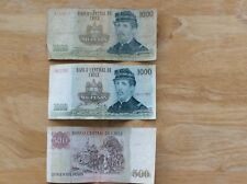New listing Lot Of 9 Bank Notes Paper Money: Chile, Philippines, Honduras, Italy, Bolivia