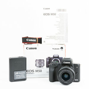 Canon EOS M50 Mirrorless Camera + Canon EF-M 15-45mm Kit - Boxed - <1,000 Shots