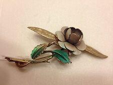 1950s Goldtone/Silvertone Enamel Flower Brooch Pin