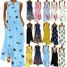 Summer Women Bohemia Sleeveless Long Maxi Dress Beach Party Sundress Plus Size