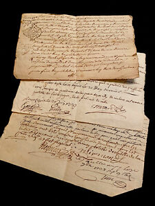 LOT OF Three Authentic Paper Documents  1700s