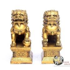 Chinese FengShui brass Copper Evil Door Guardian Foo Dog Lion beast statue Pair