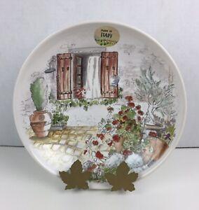 "Noi Italy Ceramiche Large Round Soup Plate Gerani 8.5"""