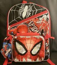 """16"""" Spiderman Backpack + Lunch Box Set Black Web Slinger Holograph NEW"""
