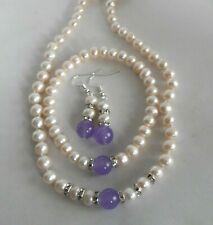 Beautiful White Akoya Cultured Pearl Alexandrite Necklace Bracelet Earrings Set