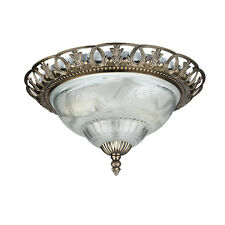 SEARCHLIGHT 13INCH TRADITIONAL BRASS FLUSH FITTING BATHROOM LIVING CEILING LIGHT