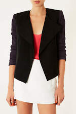 Topshop Black & Purple Contrast Waterfall Jacket Blazer UK 12 EURO 40 US 8 BNWT