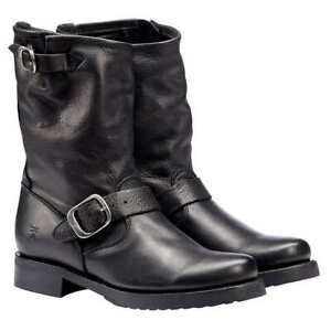 Frye Veronica Short Leather Boot Women's Size 7.5 MED Biker Black 3476509 NEW