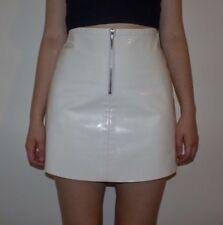 American Apparel A-Line Zip Front Vinyl PVC Skirt Pure Shiny White X-Small
