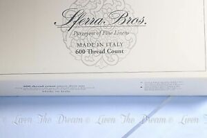 SFERRA 600 Silky Blue Extra Long Staple Cotton Italian Sateen KING Sheet Set