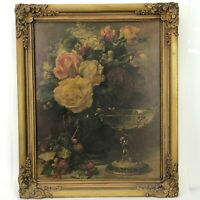 Antique Wooden Frame Floral Cherub Still Life Print Romantic Cottage Vintage