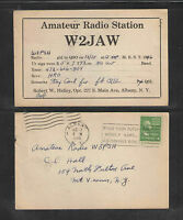 1948 W2JAW QSL CARD USED ALBANY NY USA