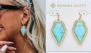 New 100% Authentic KENDRA SCOTT Tessa Gold 458 Drop Earrings Blue Magnesite