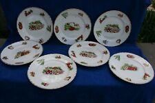 7 assiettes plates Orchies Moulin des loups St Amand décor légumes vintage 50/60
