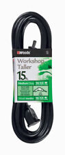 Woods  Indoor and Outdoor  15 ft. L Black  Extension Cord  16/2
